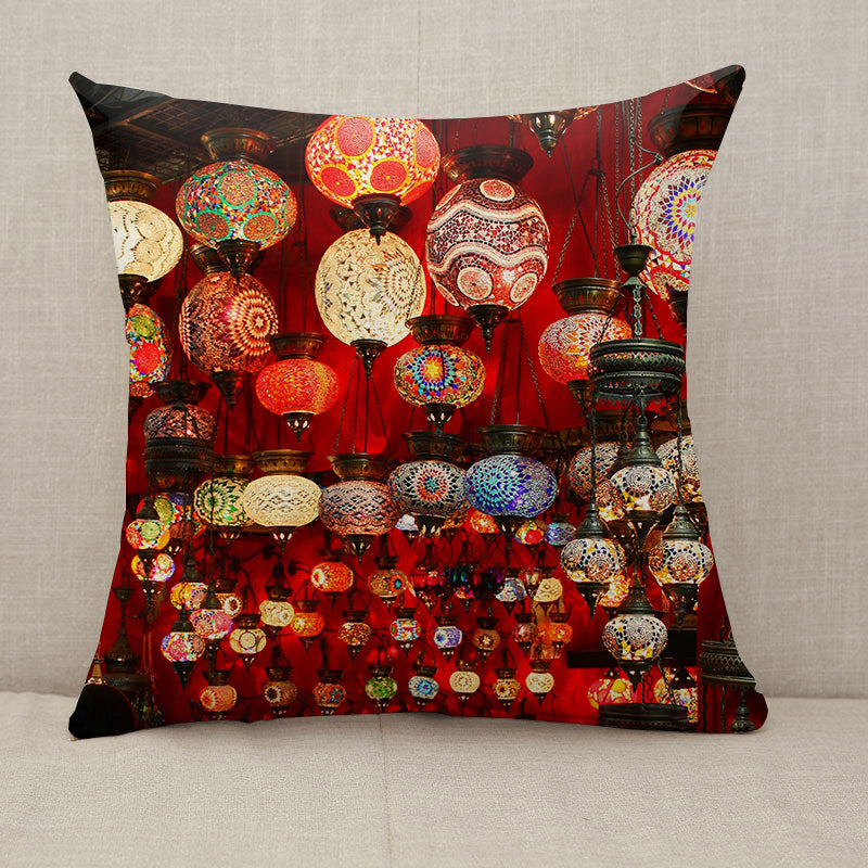 Beautiful geometric patterns on colorful turkish lamps Throw Pillow [With Inserts]