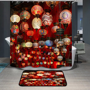 Beautiful geometric patterns on colorful turkish lamps Shower Curtain
