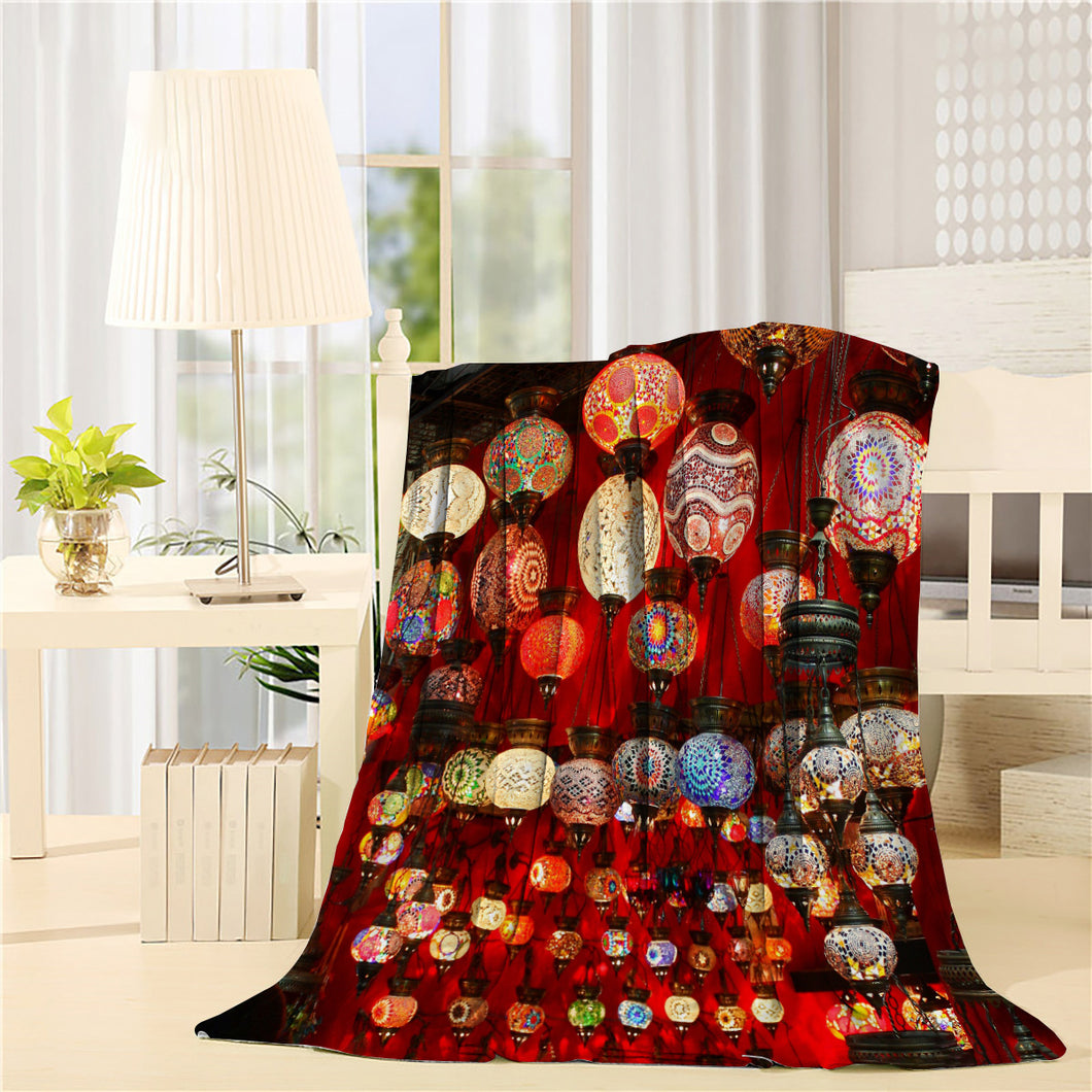 Beautiful geometric patterns on colorful turkish lamps Printed Throw Blanket
