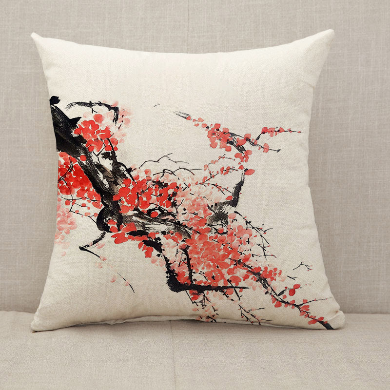 Chinese or Japanese cherry blossom painting Throw Pillow [With Inserts]