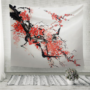 Chinese or Japanese cherry blossom painting Wall Tapestry