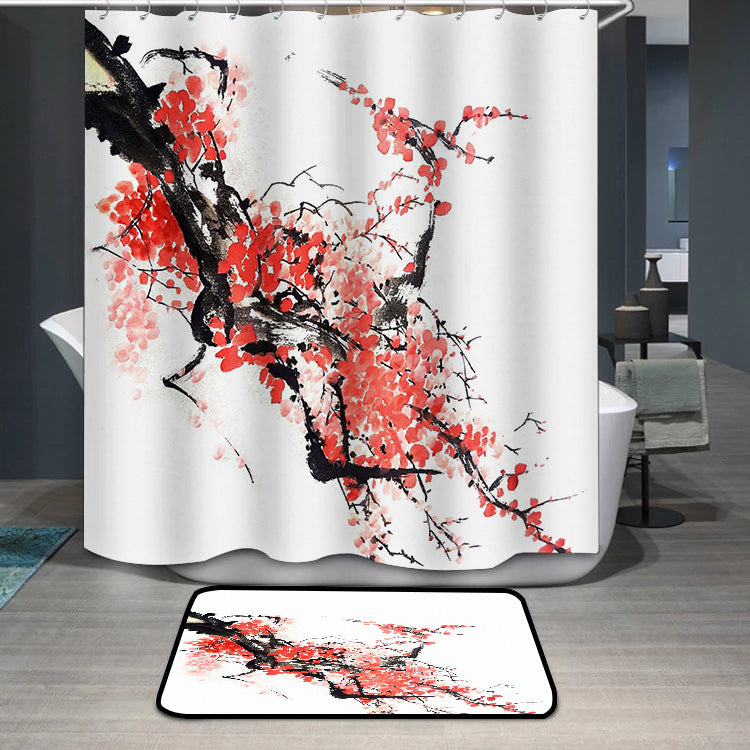 Chinese or Japanese cherry blossom painting Shower Curtain