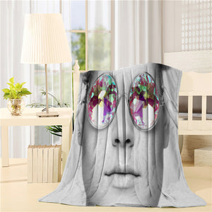 Beautiful young woman with colored glasses Printed Throw Blanket