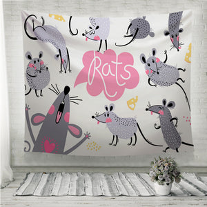 Set of funny rats for design Wall Tapestry