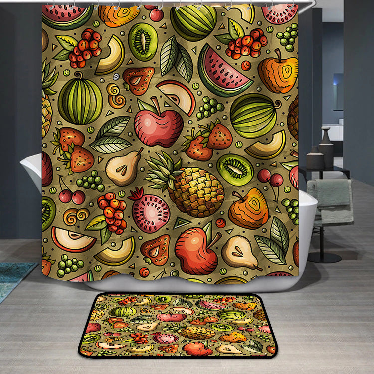 Cartoon hand-drawn Diet food Shower Curtain