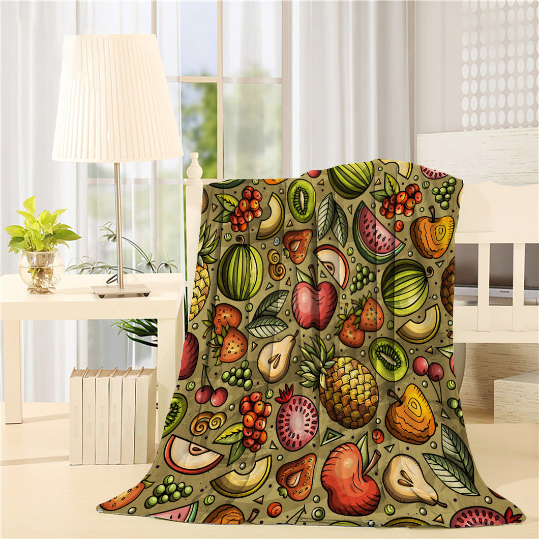 Cartoon hand-drawn Diet food Printed Throw Blanket