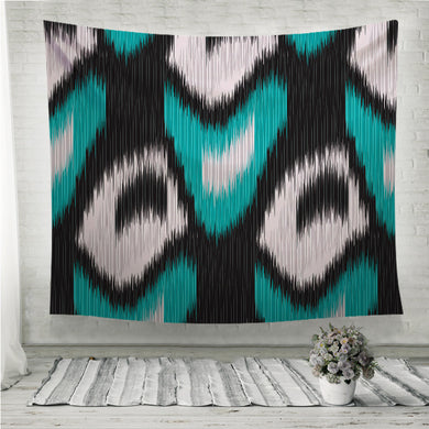 Green Ikat Pattern Wall Tapestry