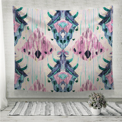 Ikat seamless bohemian ethnic pattern in watercolour style pink Wall Tapestry