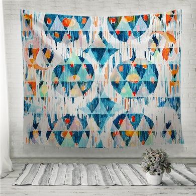Ikat seamless bohemian ethnic pattern in watercolour style blue Wall Tapestry