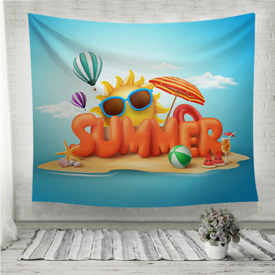Summer elements and balloons in blue sky  Wall Tapestry