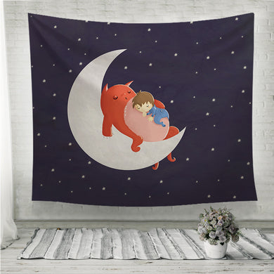 Baby Sleeping among the stars Children Wall Tapestry