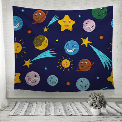 Funny planets and stars with different grimaces Wall Tapestry