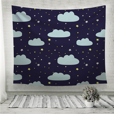 Night sky with clouds and stars Wall Tapestry