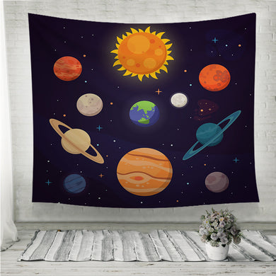 Set of colorful bright planets Solar system Wall Tapestry