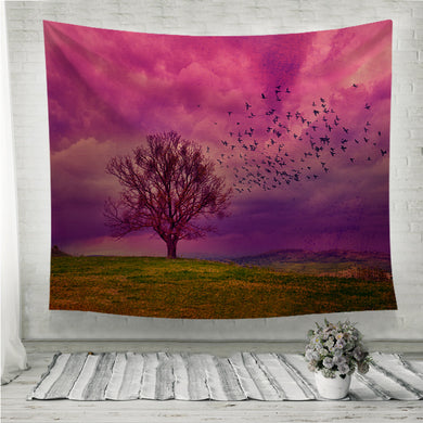 Grunge Violet fantasy landscape with birds flying  Wall Tapestry