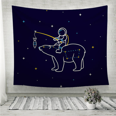 Funny cartoon astronaut sits on the constellation of a Great Bear Wall Tapestry