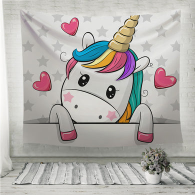 Cartoon Unicorn is holding a placard on a stars Wall Tapestry
