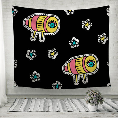 Telescope and stars pop art Wall Tapestry