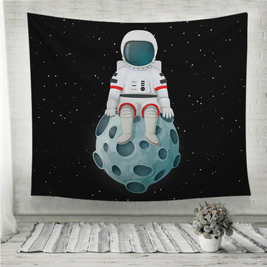 Cartoon astronaut sitting on the Moon Wall Tapestry