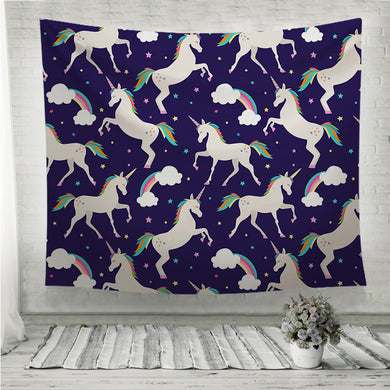 Unicorns with stars Horse festive Wall Tapestry