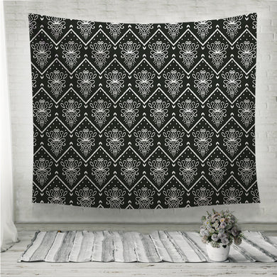 Black and white pattern with embroidery Ethnic Ikat style design Wall Tapestry