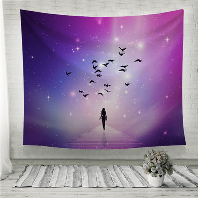 Soul journey universe sky Woman silhouette Wall Tapestry