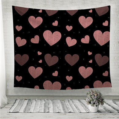 Rain of hearts and stars on black  Wall Tapestry