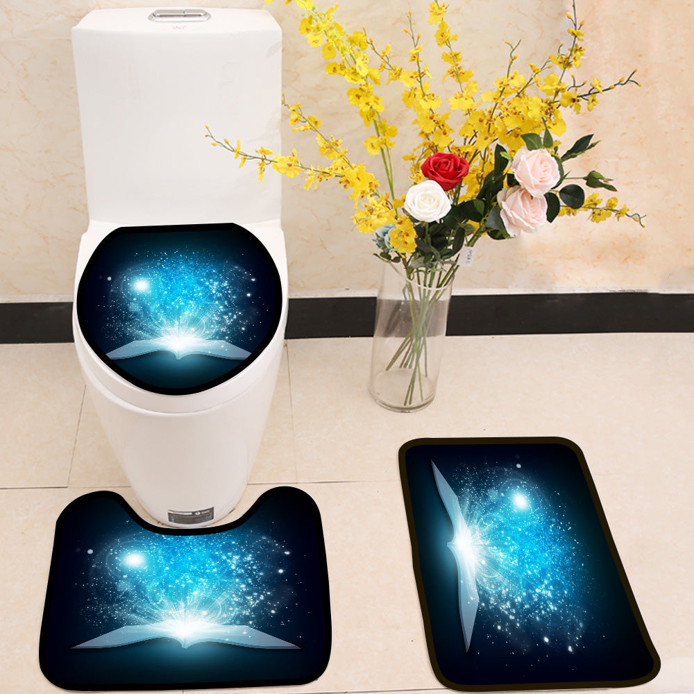 Old open book with magic light and falling stars 3 Piece Toilet Cover Set