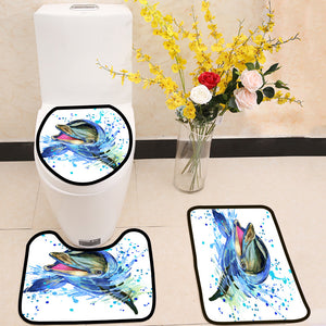 Dolphin illustration with splash watercolor 3 Piece Toilet Cover Set