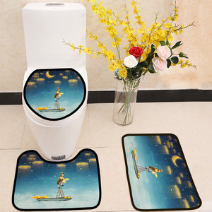 Man on a ladder reaching for stars 3 Piece Toilet Cover Set