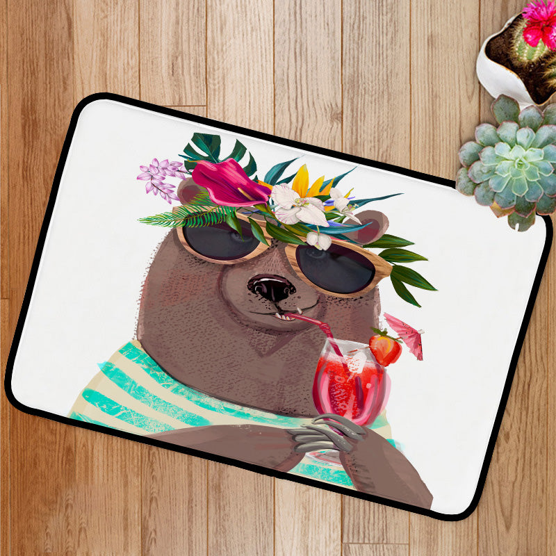 Cute summer bear drinking cocktail Bath Mat