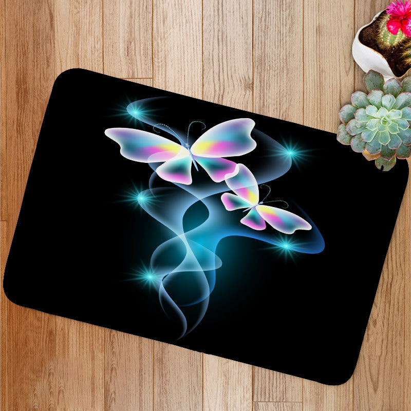 Glowing butterflies and smoke with sparkle stars Bath Mat