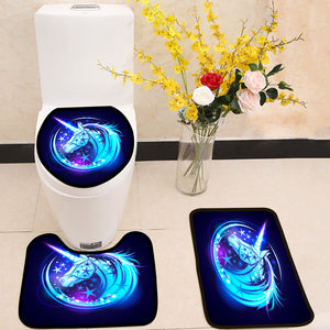 Unicorn head with stars and magic neon glowing 3 Piece Toilet Cover Set
