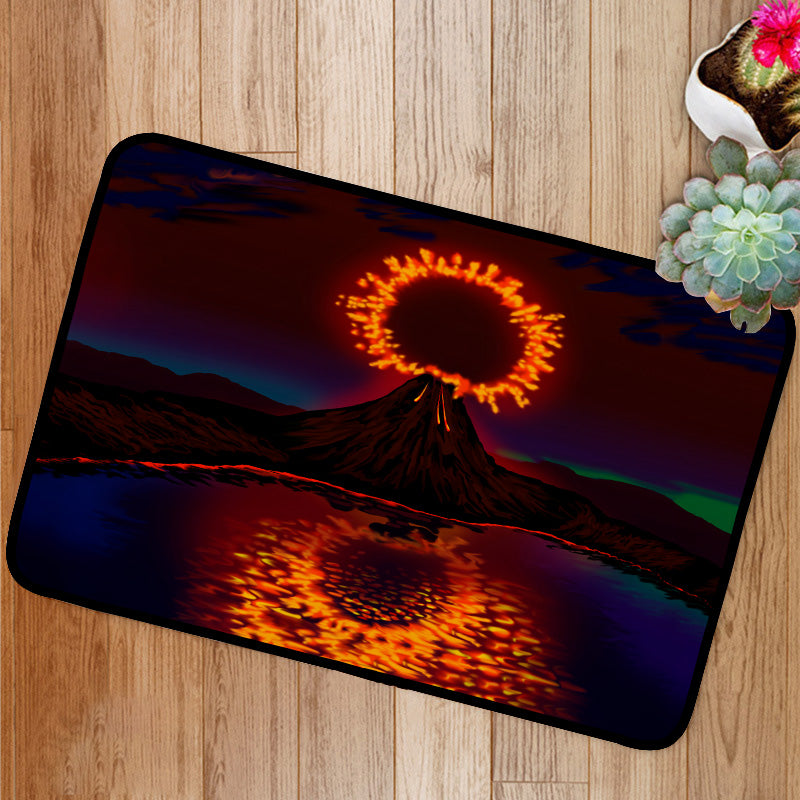 The explosion of the volcano and reflection Bath Mat