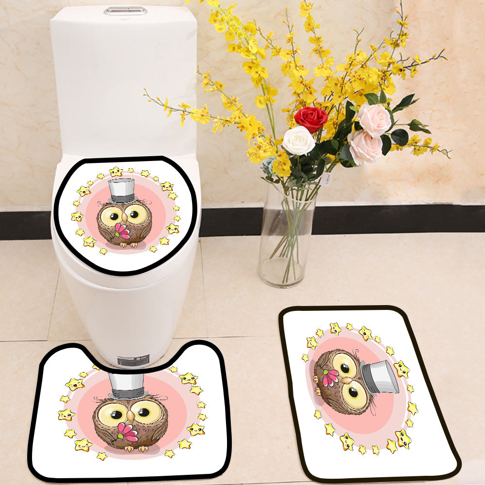 Cartoon cute Owl with stars 3 Piece Toilet Cover Set
