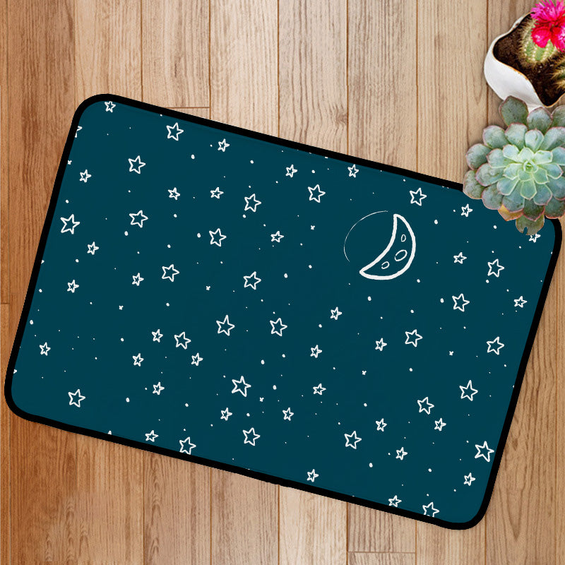 Night moon and stars stars pattern Bath Mat