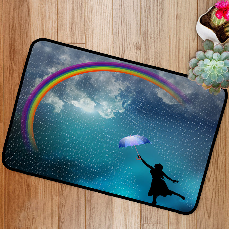 Beautiful lady in the rain rainbow Bath Mat