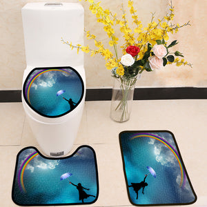 Beautiful lady in the rain rainbow 3 Piece Toilet Cover Set