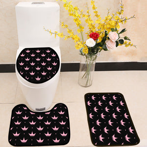 Pink crowns and stars 3 Piece Toilet Cover Set