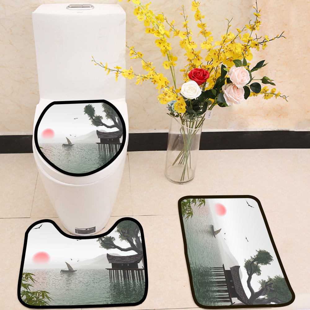 Dreamy landscape at sunrise 3 Piece Toilet Cover Set