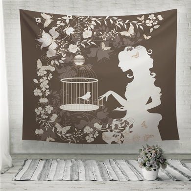 Vintage girl and bird Wall Tapestry