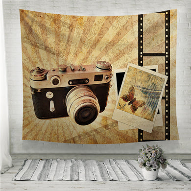 Vintage camera with polaroids Wall Tapestry