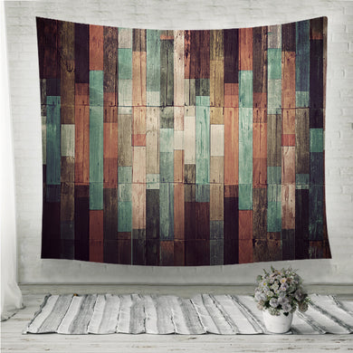 Vintage Wood Background Wall Tapestry
