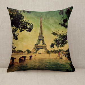 Eiffel Tower and Seine river in Paris Vintage Throw Pillow [With Inserts]