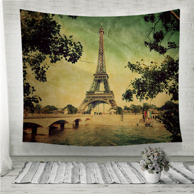 Eiffel Tower and Seine river in Paris Vintage Wall Tapestry