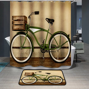Retro styled sepia image of a vintage bicycle Shower Curtain