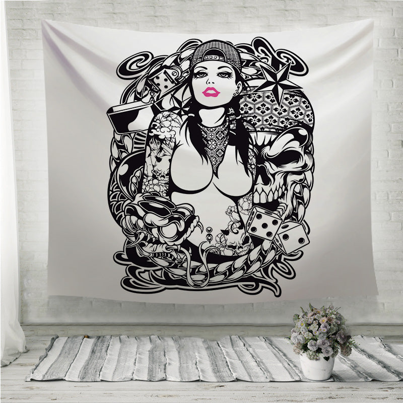 Tattoo Girl Wall Tapestry