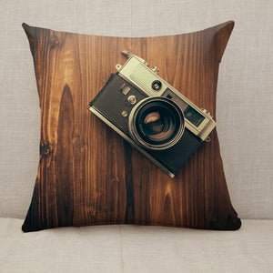 Vintage camera on wooden background Throw Pillow [With Inserts]
