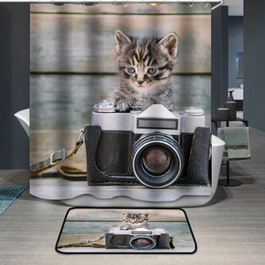 Kitten with vintage photo camera Shower Curtain