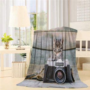 Kitten with vintage photo camera Printed Throw Blanket